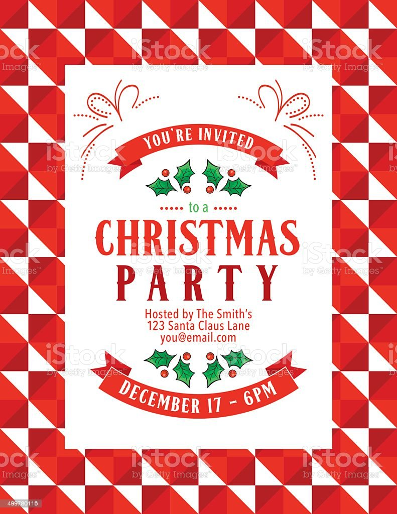 Bright Christmas Party Invitation With Holly And Ribbons vector art illustration