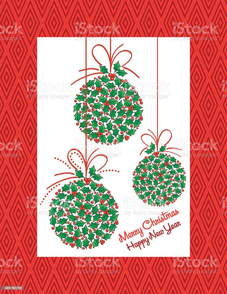 Bright Christmas Party Invitation With Holly Ornaments vector art illustration
