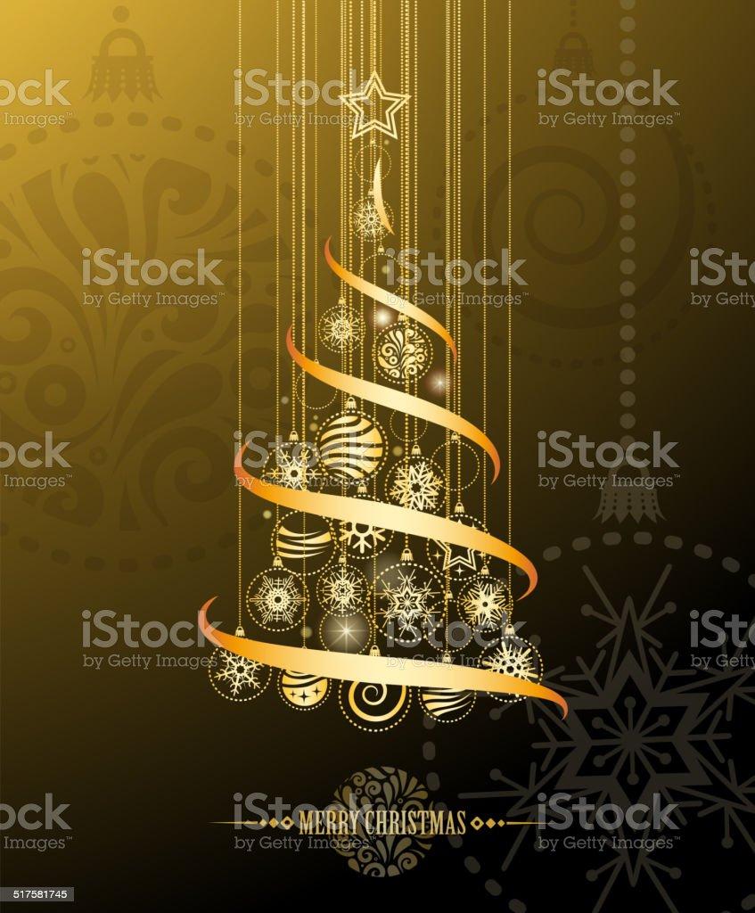 bright christmas tree vector art illustration