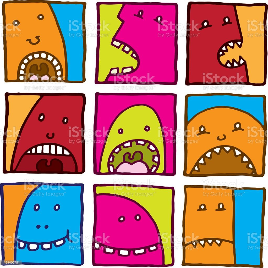 Bright colored monster prints royalty-free stock vector art