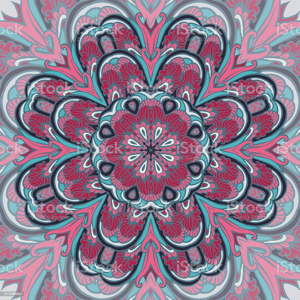 Bright colored ornamental mandala vector art illustration