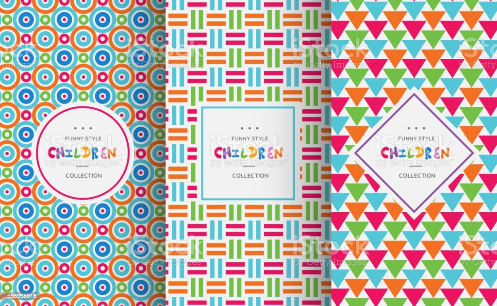 Bright colorful seamless patterns for baby style vector art illustration