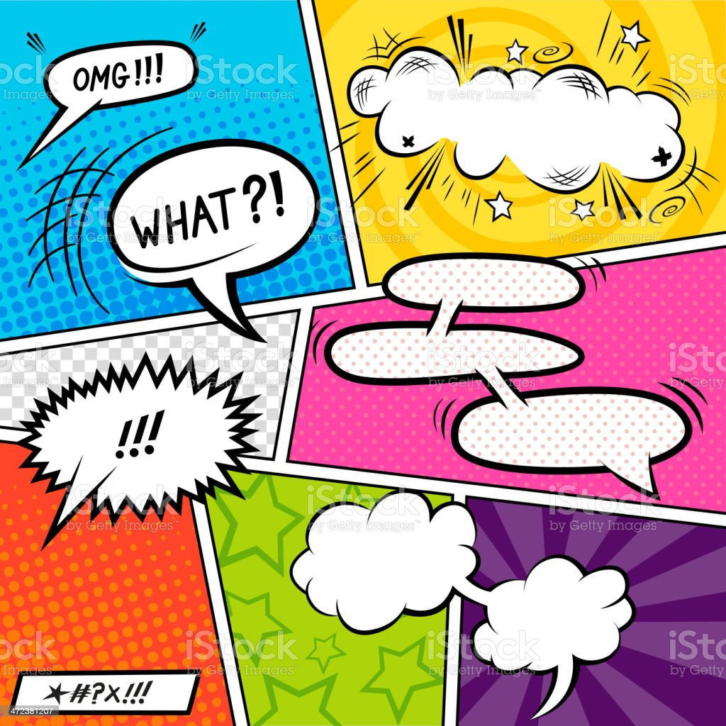 Bright Comic Elements vector art illustration
