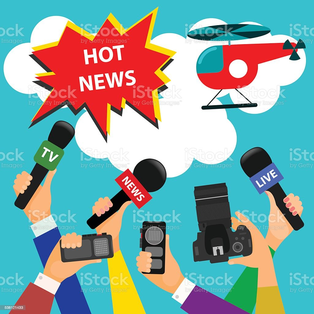 bright concept on the theme of breaking news. flat style vector art illustration