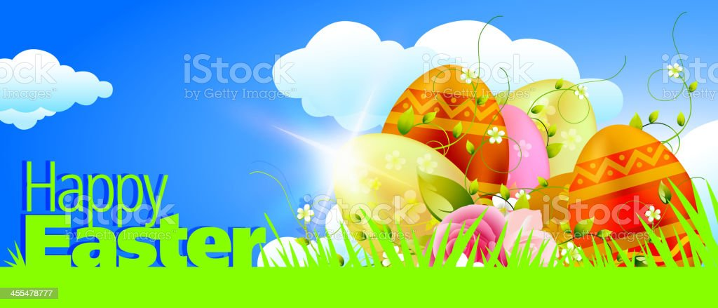 Bright Easter Banner vector art illustration