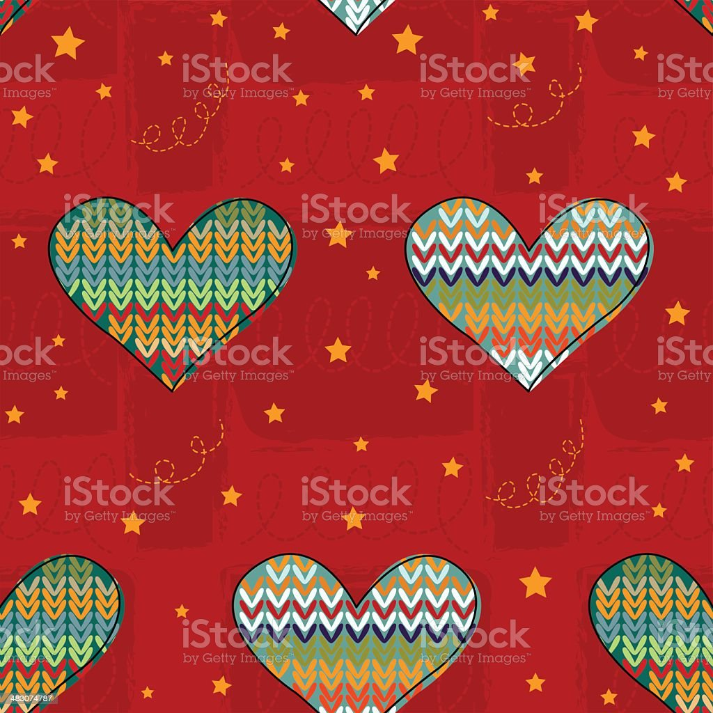 Bright festive background with knitted hearts. royalty-free stock vector art