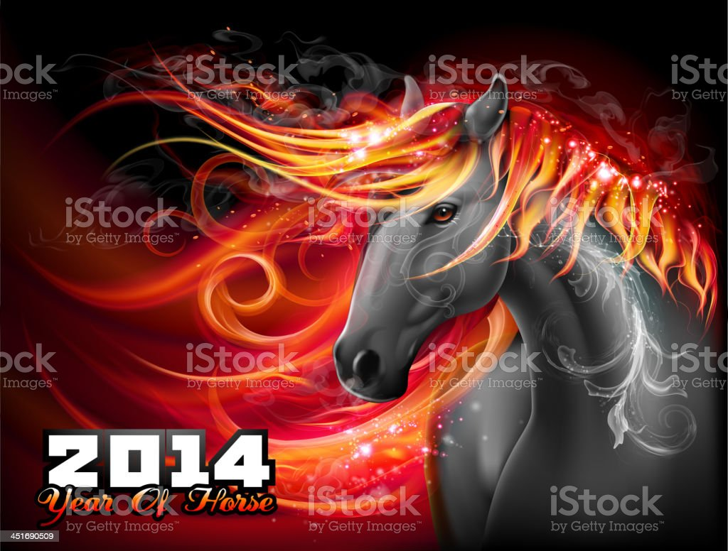 Bright fiery horse vector art illustration