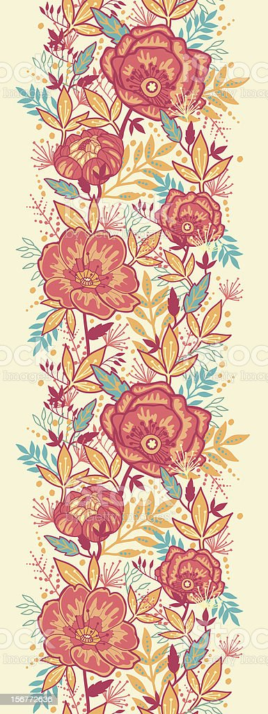 Bright Garden Flowers Vertical Seamless Pattern Ornament royalty-free stock vector art