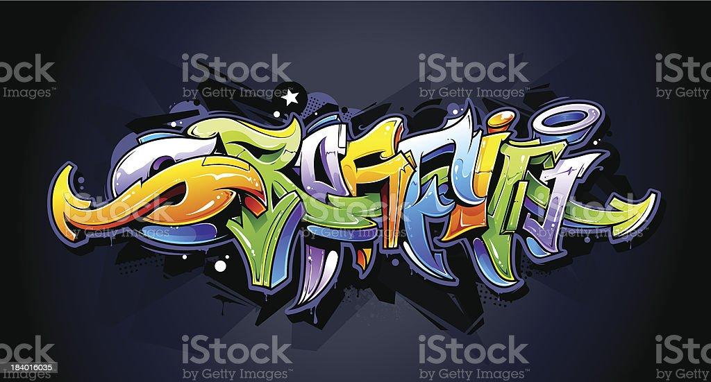 Bright graffiti lettering vector art illustration