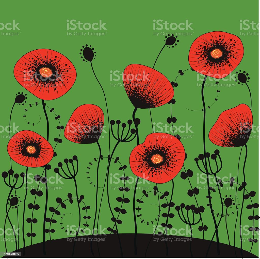 bright green background with red poppies vector art illustration