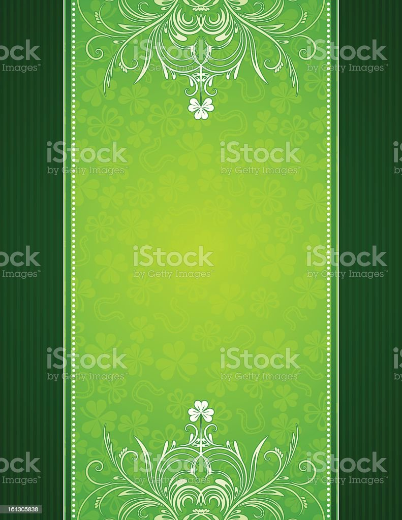Bright green background with shamrocks and a dark border royalty-free stock vector art
