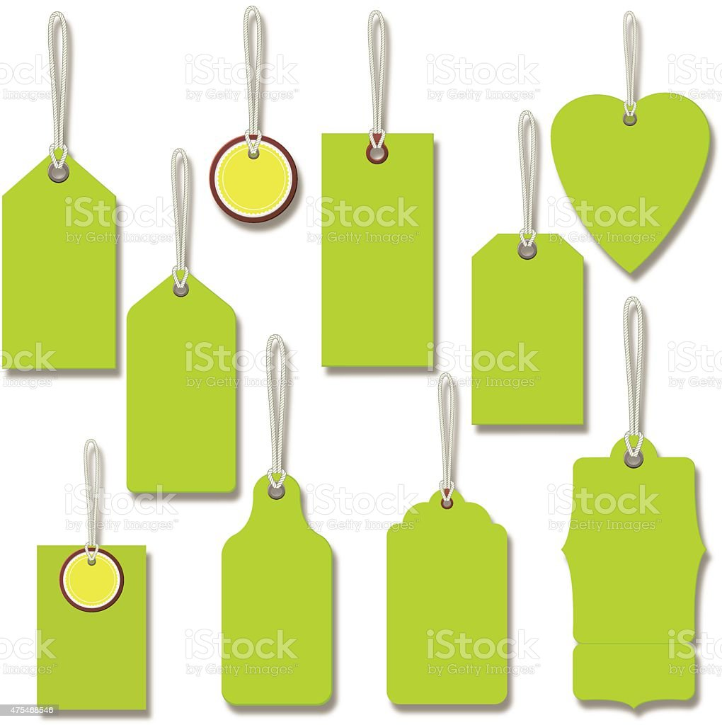 Bright Green Gift Or Price Tags With String vector art illustration