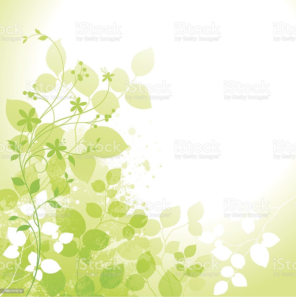 Bright green spring design with leaves and flowers royalty-free stock vector art