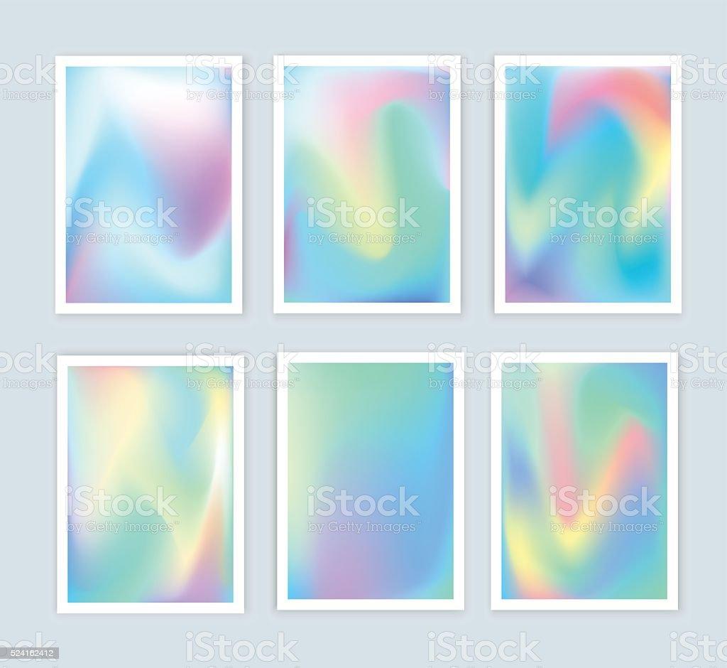 Bright holographic backgrounds set for a different design. vector art illustration
