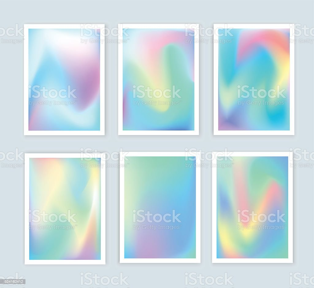 Bright holographic backgrounds set for a different design. vector art illustration