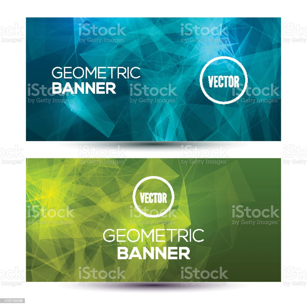 Bright horizontal abstract geometric, low poly, polygonal banners template design. vector art illustration