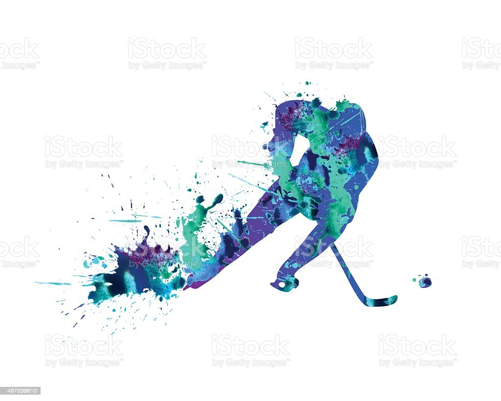 Bright ice-hockey player icon vector art illustration