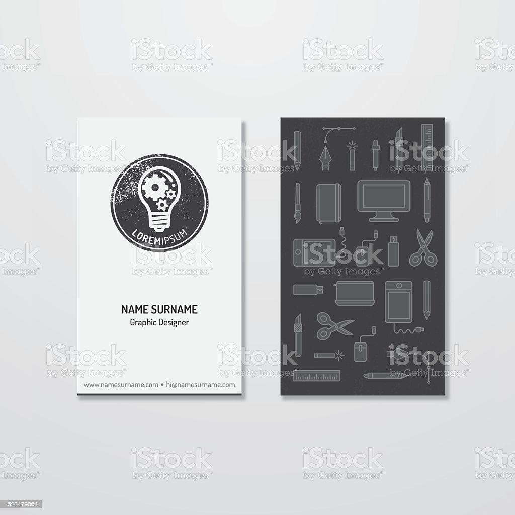 Bright idea logo and business card design vector art illustration