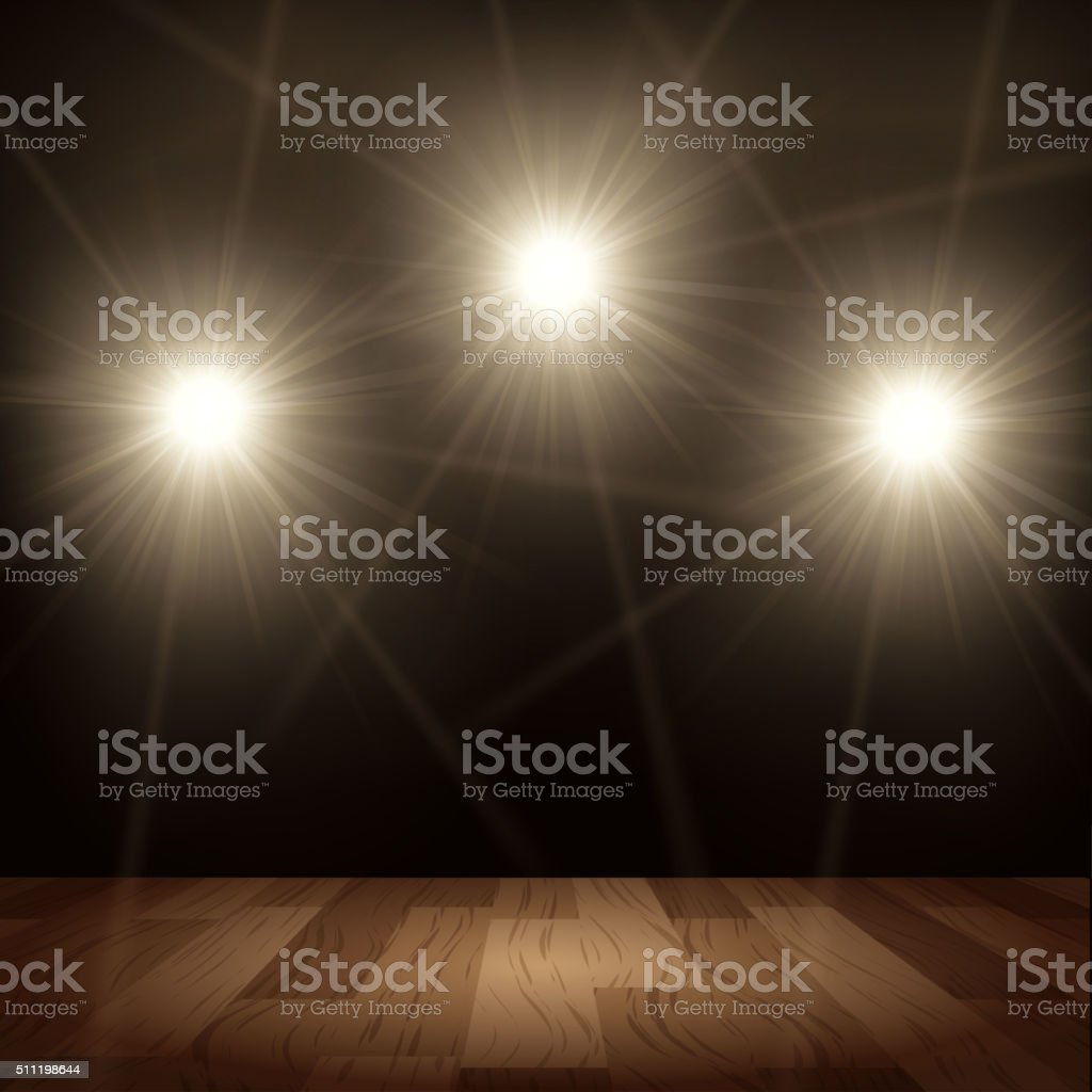 Bright lights in show performance with wood floor vector art illustration