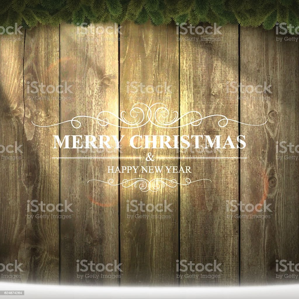 Bright Merry Christmas lettering on Wooden Background with garland, snow vector art illustration