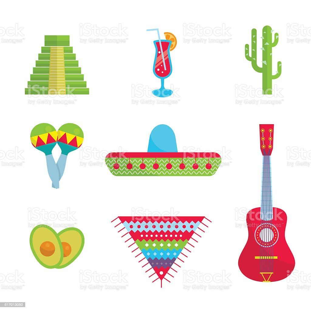 Bright Mexican flat set vector art illustration
