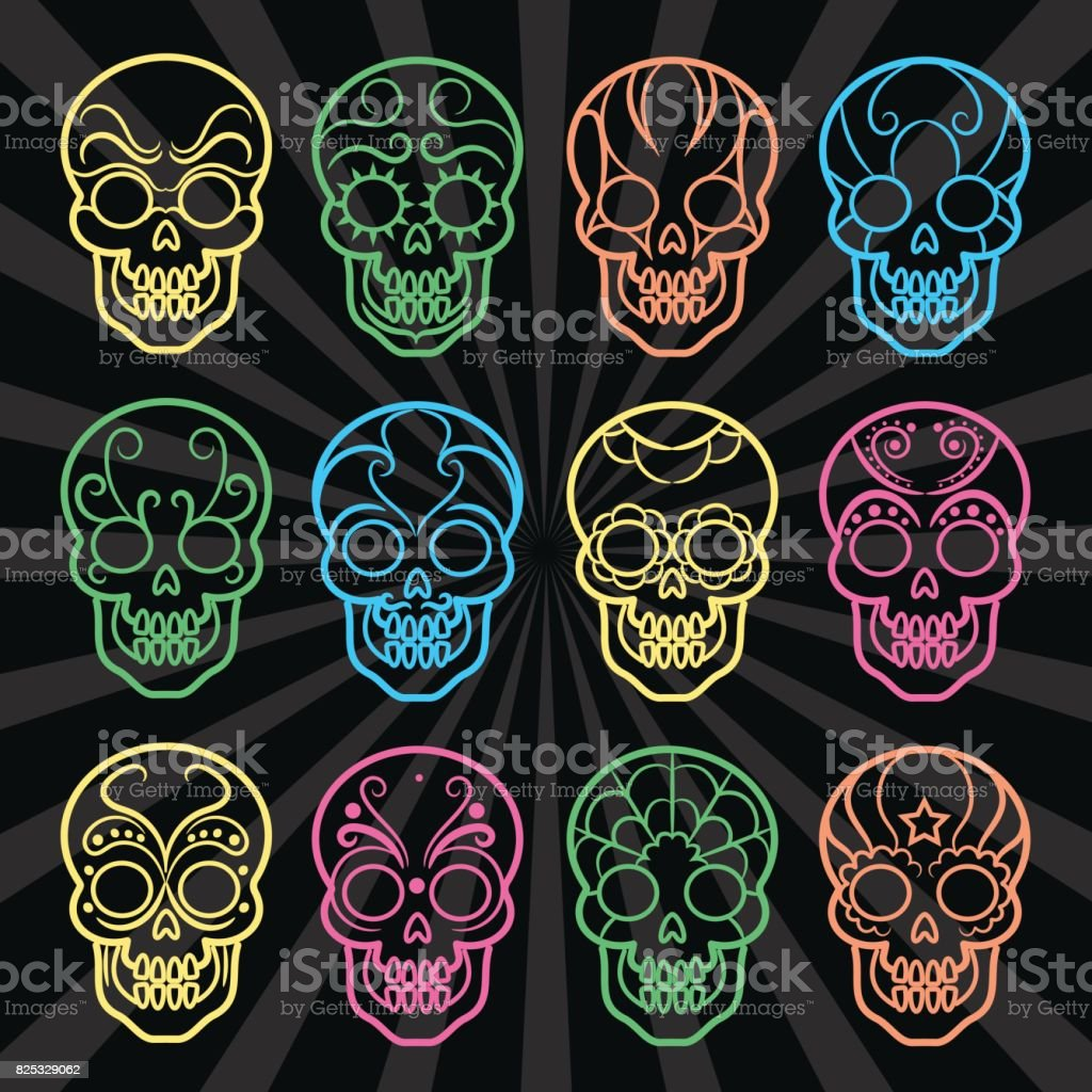 Bright mexican skulls collection vector art illustration