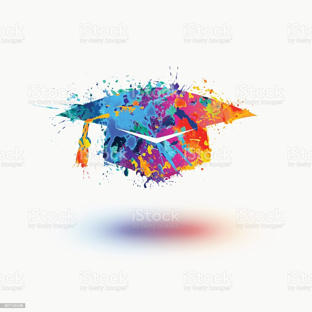 Bright mortar Board (Graduation Cap) vector watercolor icon vector art illustration