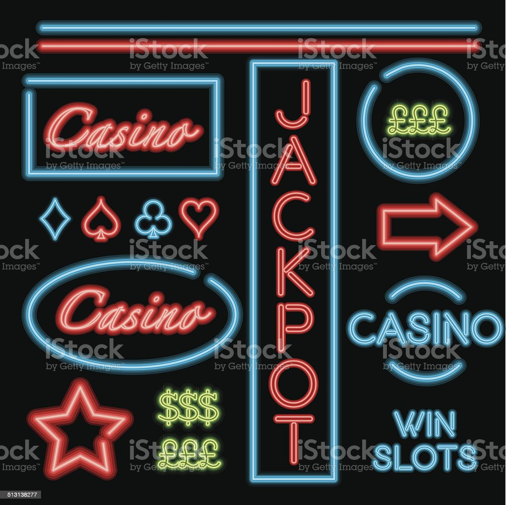 Bright neon signs showing the way to the casino. vector art illustration