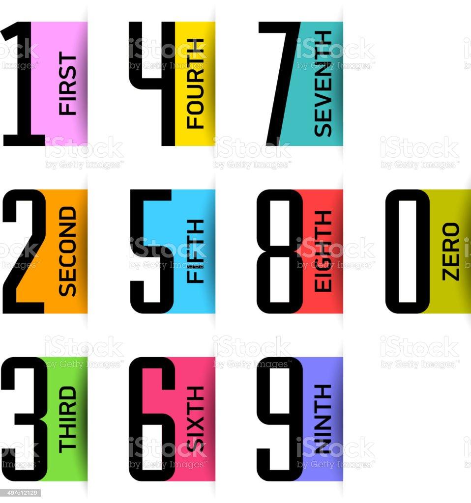 Bright numbers set vector art illustration