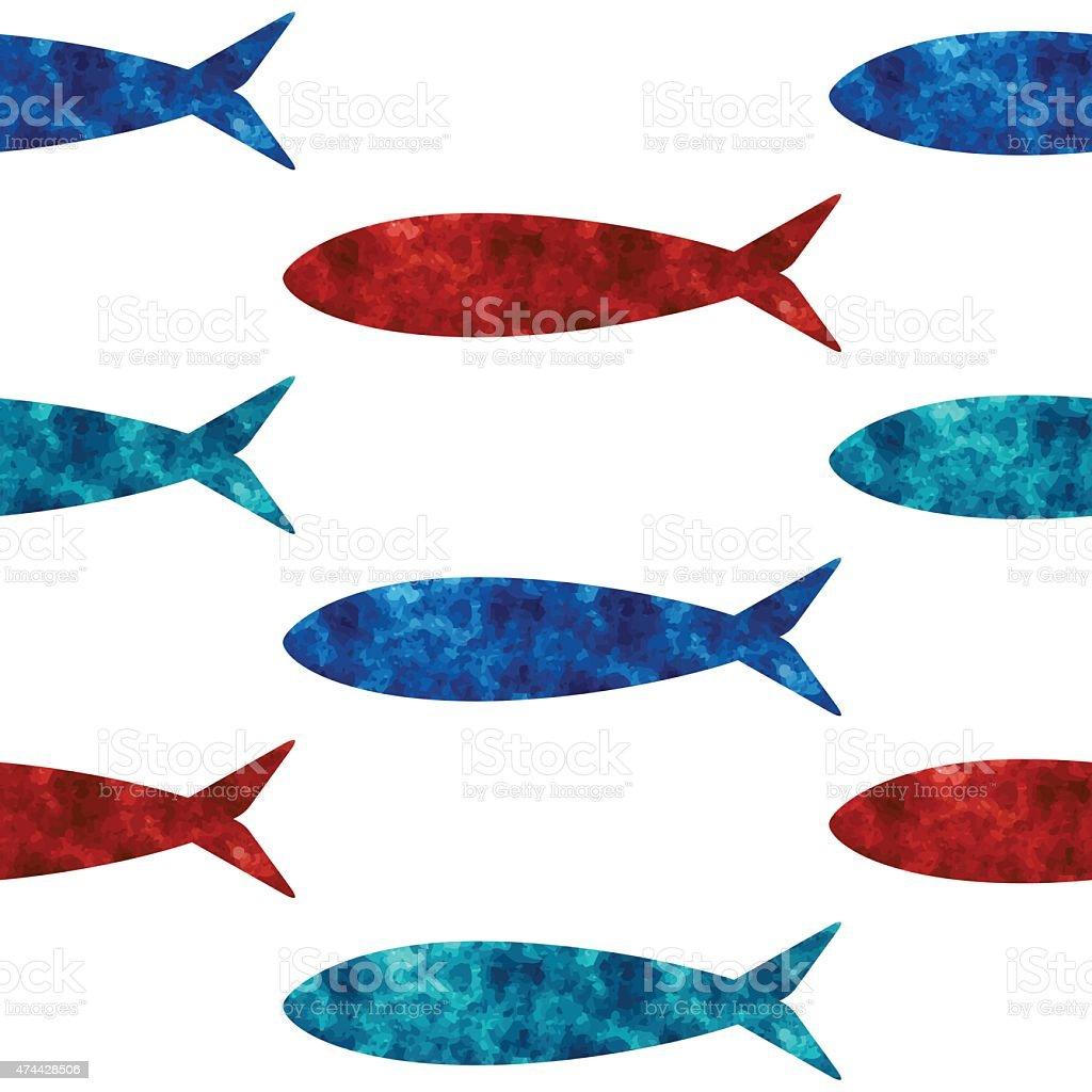 Bright ocean theme seamless pattern vector art illustration
