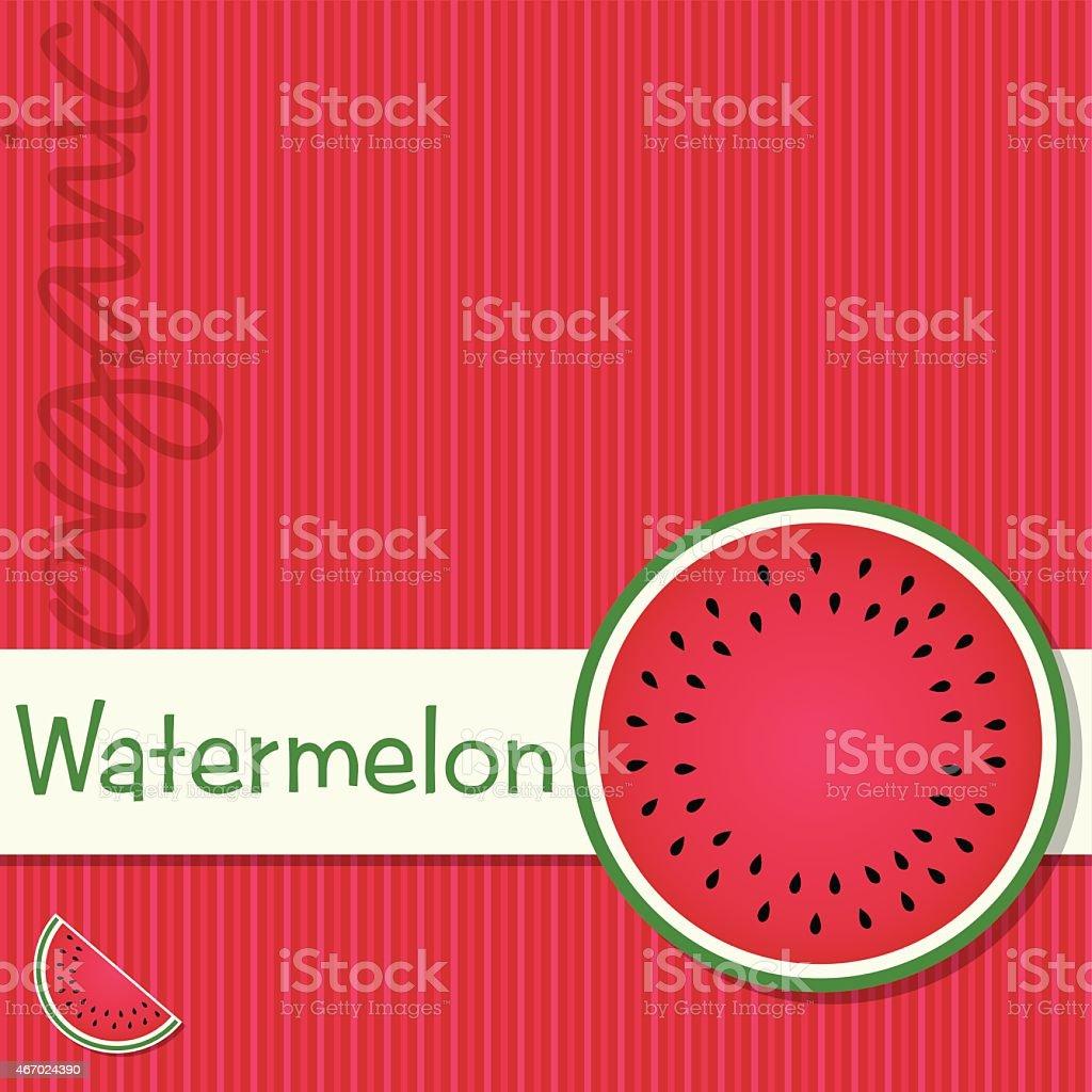 Bright organic watermelon fruit card in vector format. vector art illustration