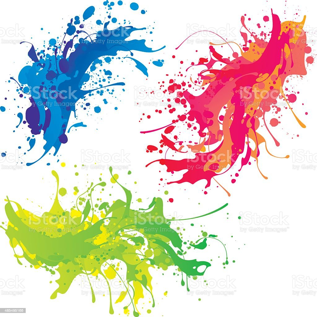 Bright paint splashes vector art illustration