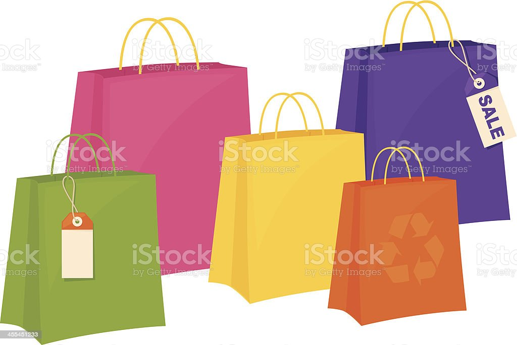 Bright Paper Bags royalty-free stock vector art