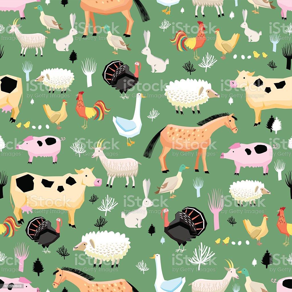 bright pattern of farm animals vector art illustration