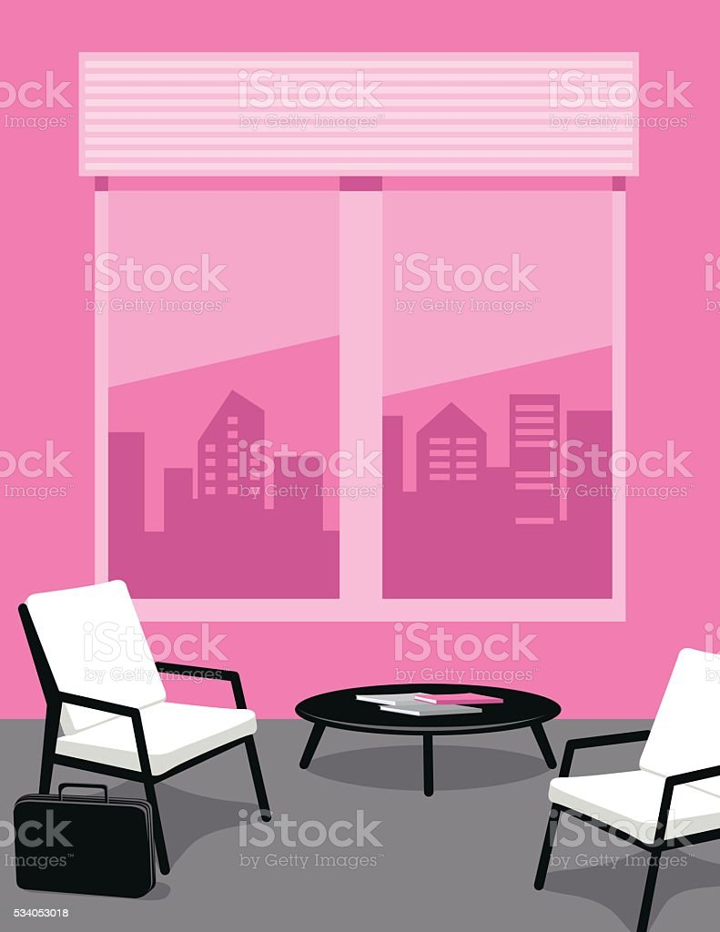 Bright Pink and Grey Office or waiting Room vector art illustration