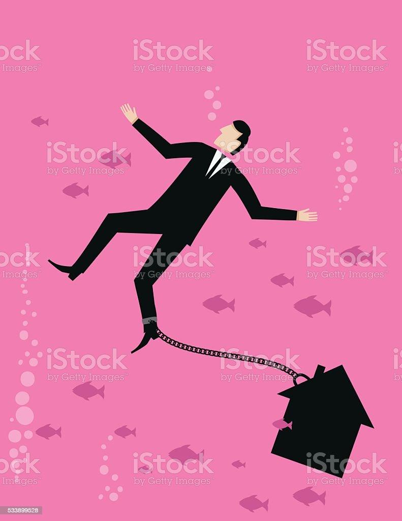 Bright Pink Business Concept - Businessman Drowning In Homeowner Debt vector art illustration