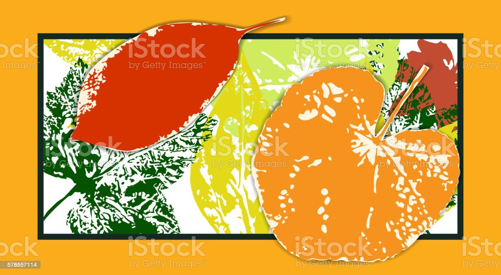 Bright postcard with autumn leaves vector art illustration