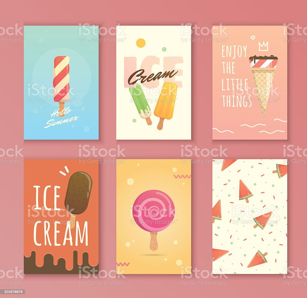 bright poster with ice cream vector art illustration