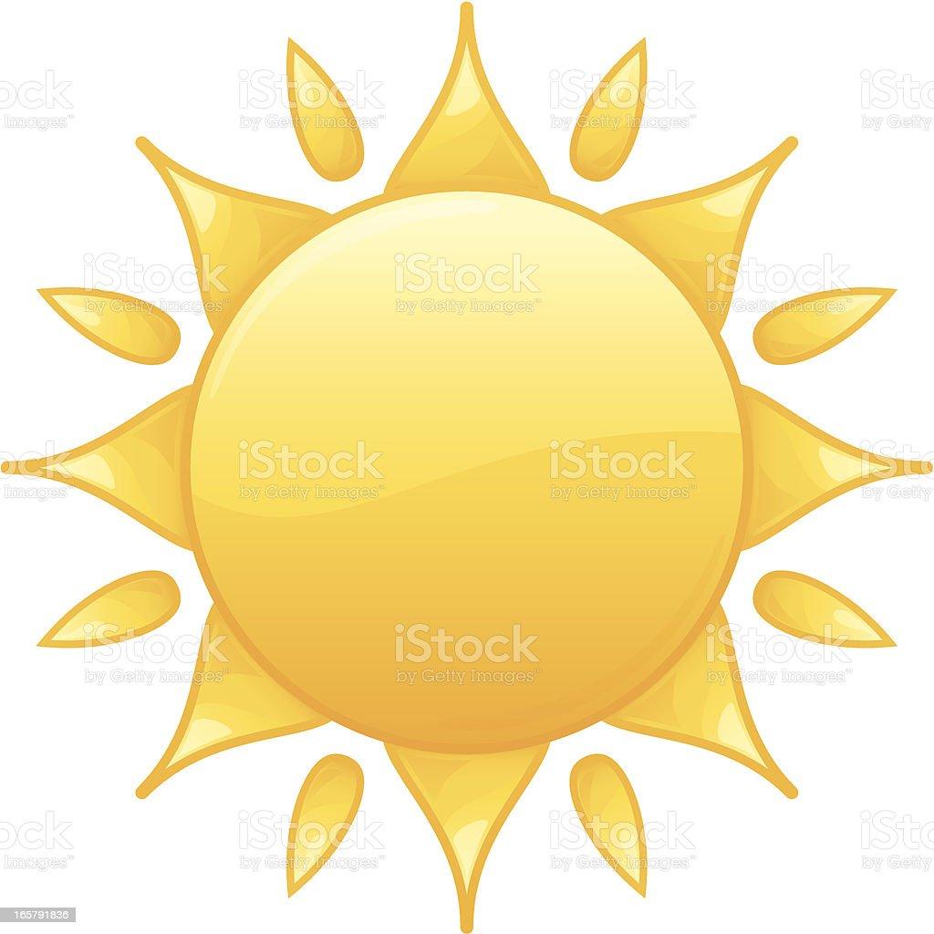 Bright Radiant Yellow Summer Sun Vector Illustration royalty-free stock vector art