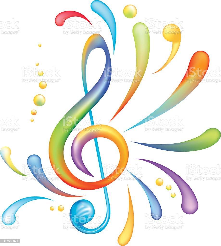Bright Rainbow of Colors Splashy Treble Clef Isolated on White royalty-free stock vector art