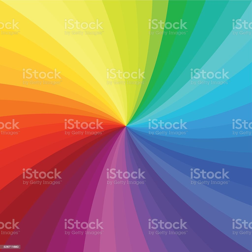 Bright rainbow swirl background. Rainbow rays of twisted spiral. vector art illustration
