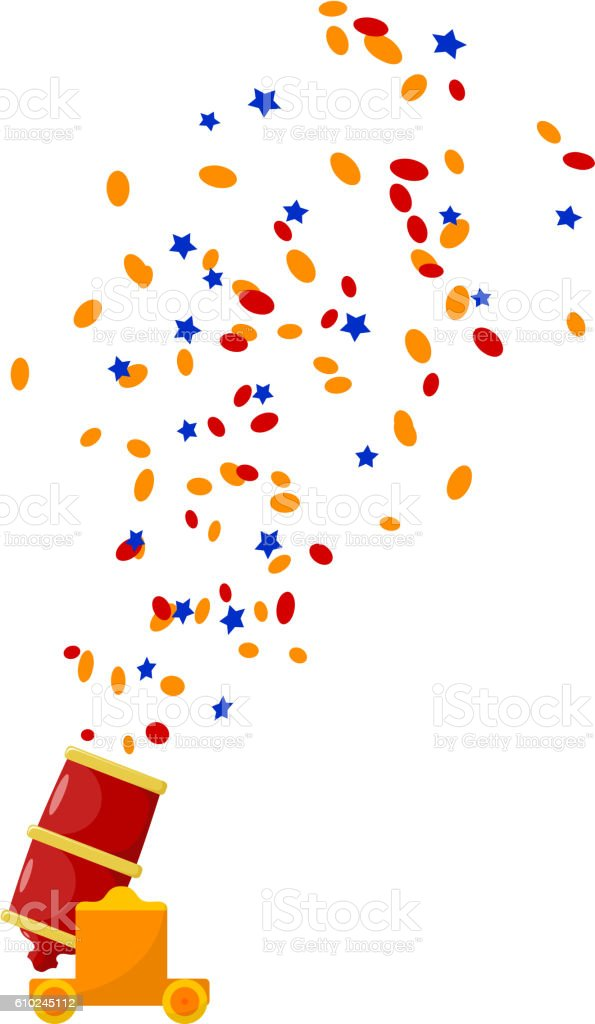 Bright red abstract color image gun with confetti vector art illustration
