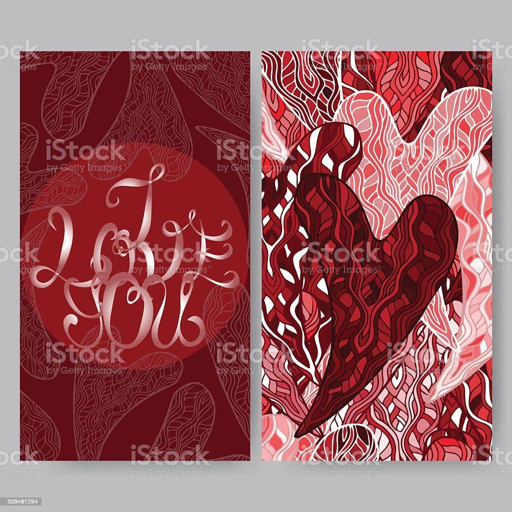 Bright romantic I love you card vector art illustration
