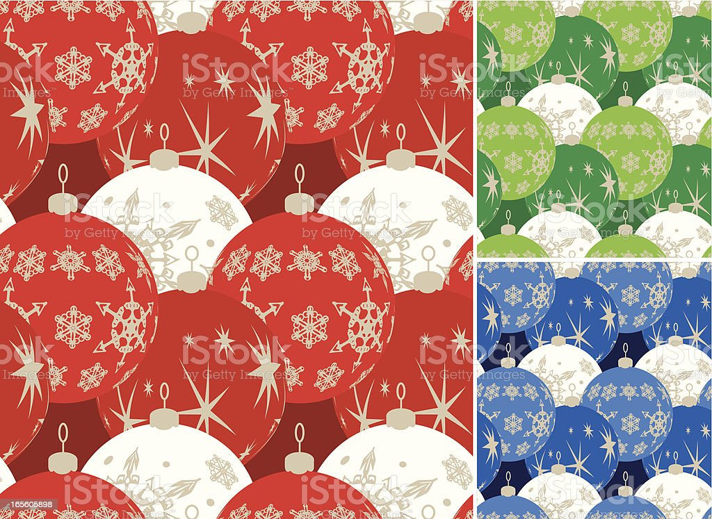 Bright Round Graphic Bauble Seamless Patterns -Christmas royalty-free stock vector art
