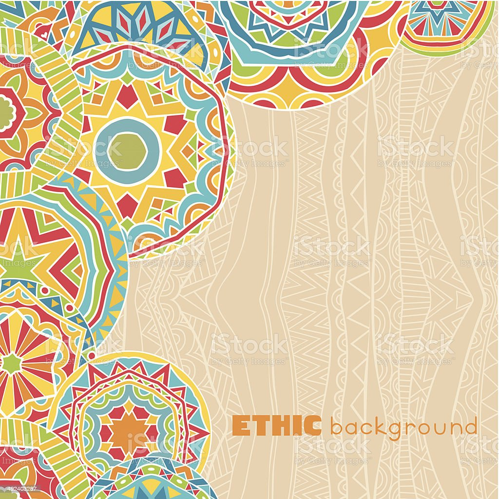 Bright Rounds At Ethnic Background vector art illustration
