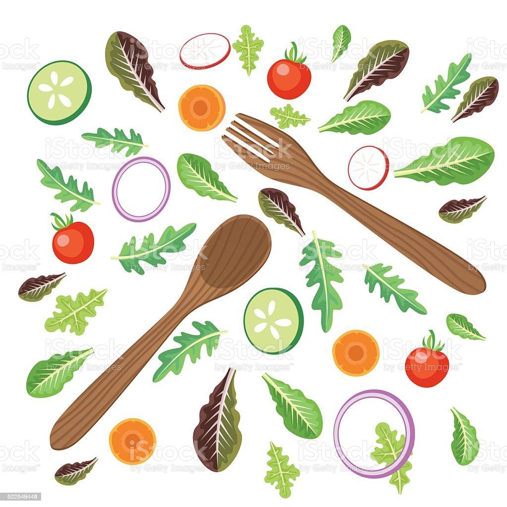 Bright Salad Vegetables With Serving Utemsils vector art illustration