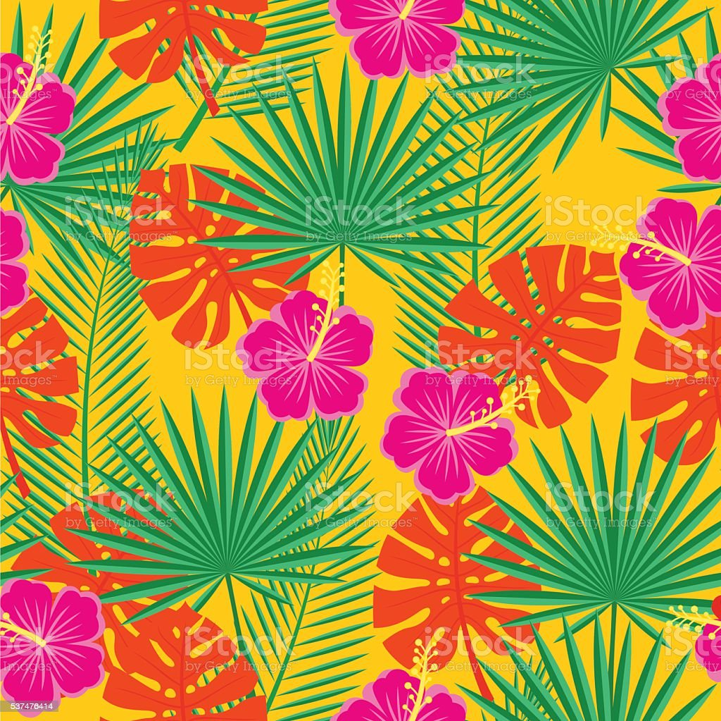 bright seamless background with tropical flowers and leaves vector art illustration