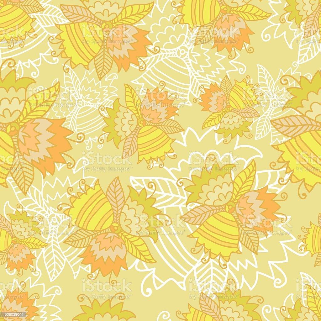 Bright Seamless Bell Flowers Pattern vector art illustration
