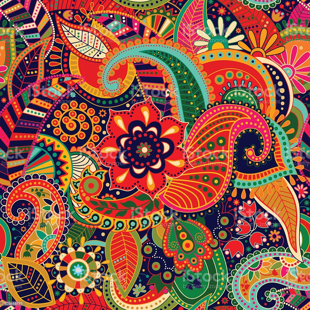 Bright seamless pattern in paisley style vector art illustration