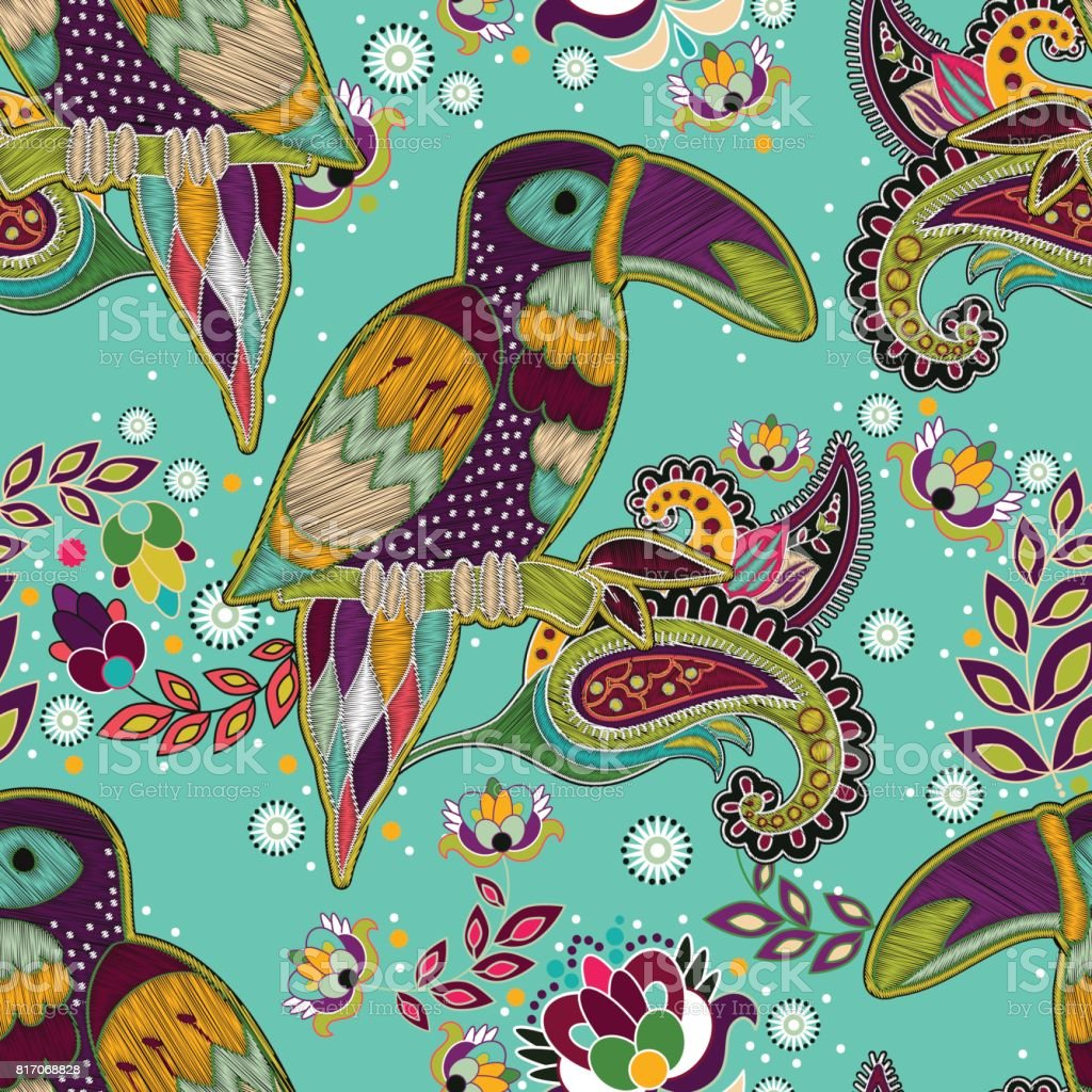 Wallpaper With Birds bright seamless pattern tropical backdrop with birds colorful